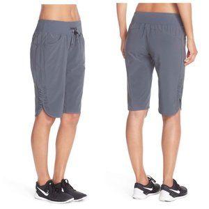 Zella City Shorts Gray Active Bermuda Ruched S/P